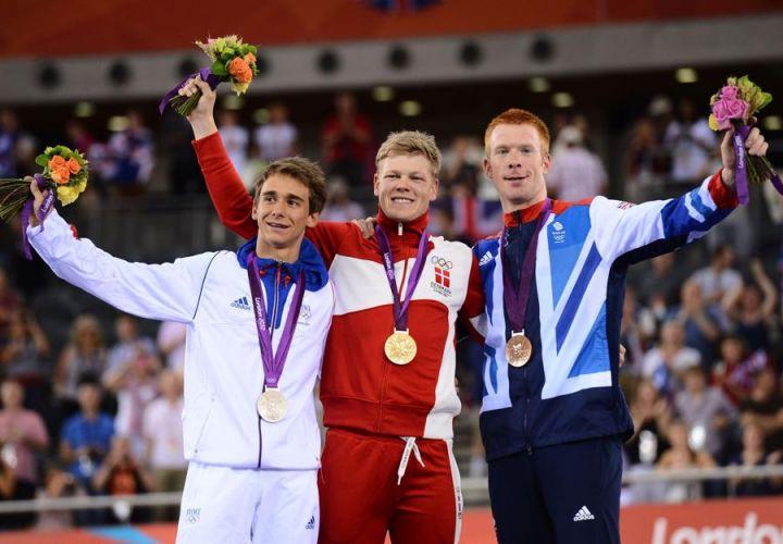 Bryan Coquard, Adam Hansen et Ed Clancy sur le podium des Jeux de Londres