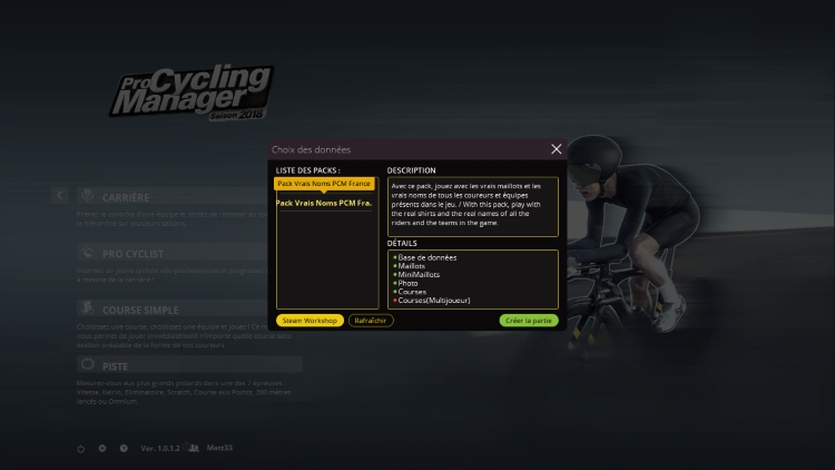 Capture d'écran de Pro Cycling Manager 2018 montrant le Pack Vrais Noms PCM France