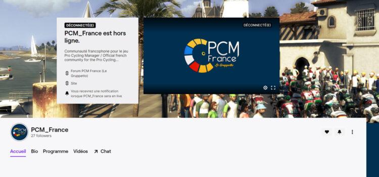 Page d'accueil de la chaîne Twitch PCM France